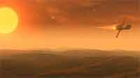 A ship above Mars.